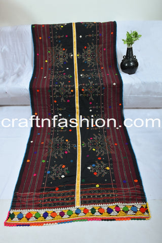 Vintage Indian Hand Embroidered Kutch Work Woolen Shawl