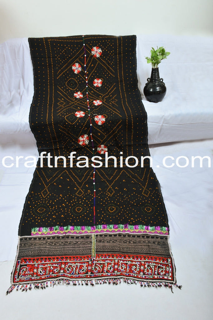 Hand-woven Kutch Embroidery Mirror Work Shawl