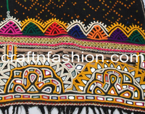 Vintage Tribal Gypsy Kutch Hand Work Tapestry