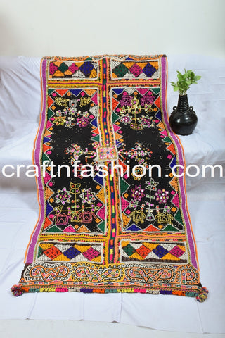 Multi Colored Rabari Embroidery Mirror Beaded Shawl