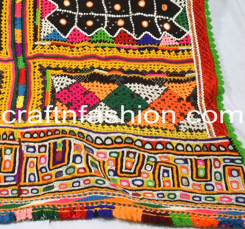 Indian Fusion Hand Embroidered Mirror Work Shawl