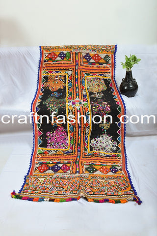 Vintage Rabari Embroidery Mirror Work Shawl