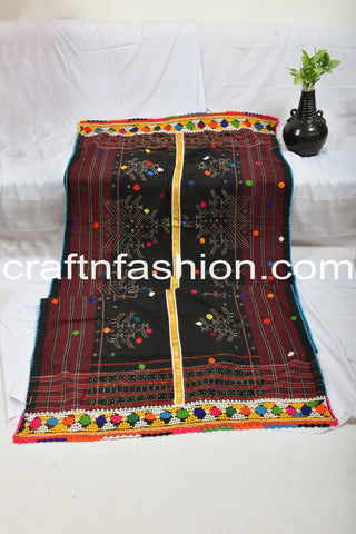 Traditional Mirror Work Embroidered Shawl