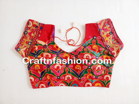 Designer Traditional Kutchi Hand Embroidery Saree blouse