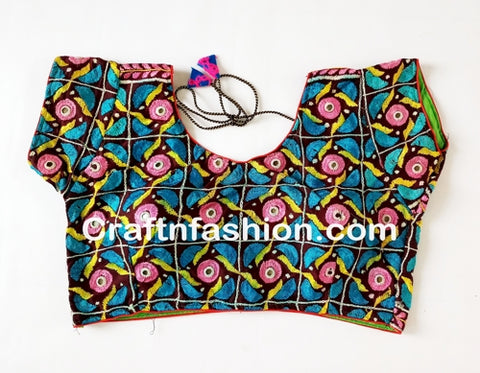 Designer embroidery Mirror work  blouse