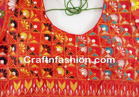 Kutch multicolored embroidery indian blouse
