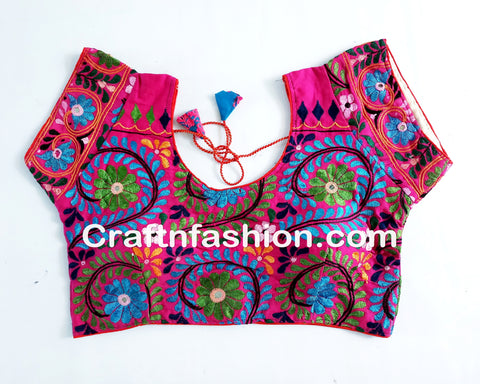 Floral Embroidery Indian Fusion Ready made Blouse