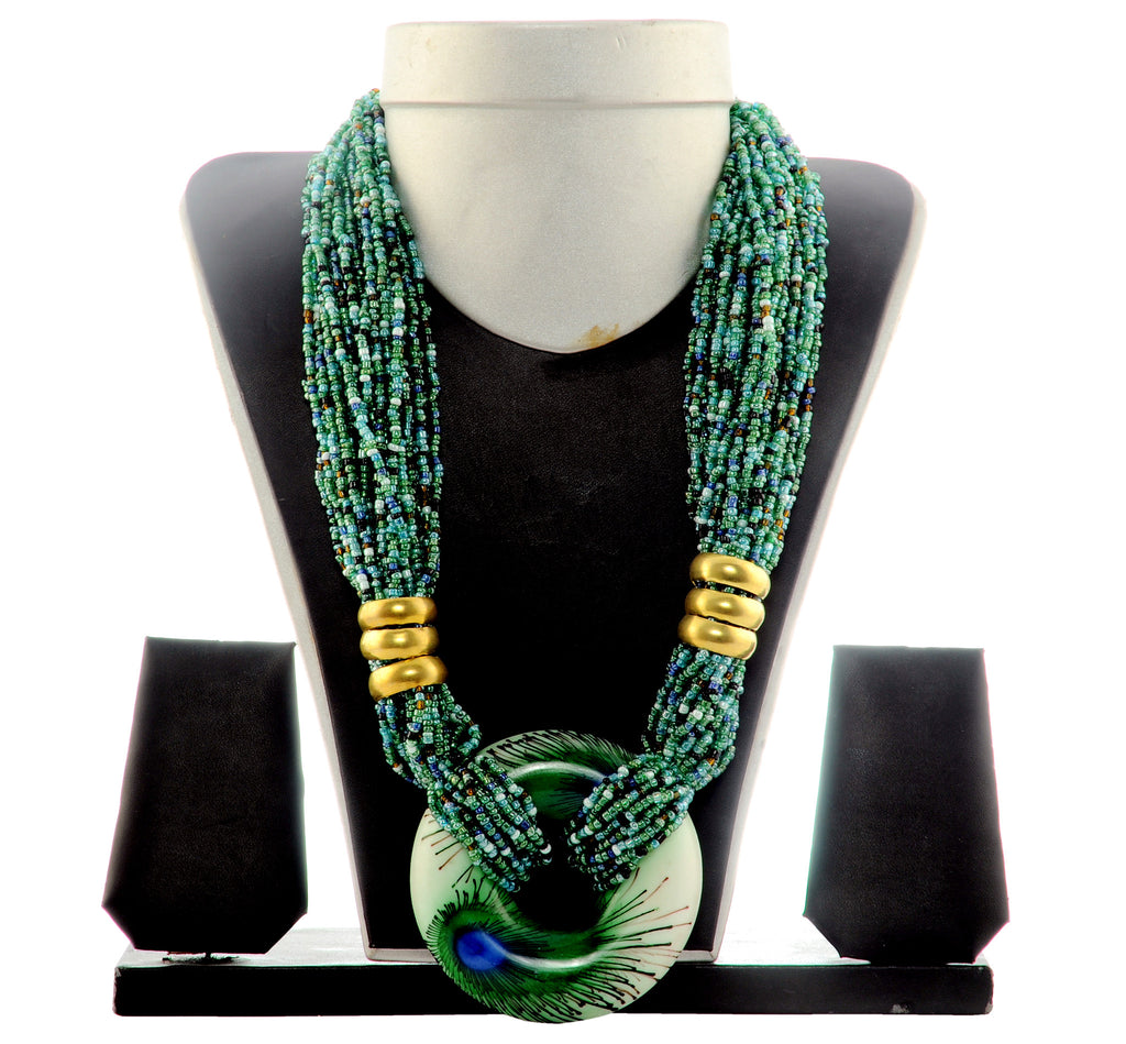 Peacock Style Beded Necklace