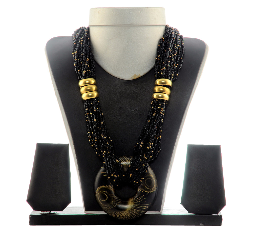Black Beaded  Belly Party Wear Necklace