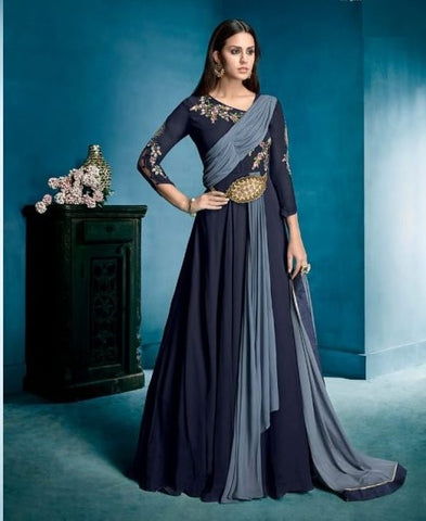 Embroidered Designer Georgette Gown