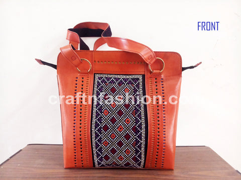 Pure Leather Cut Work Shoulder Bag