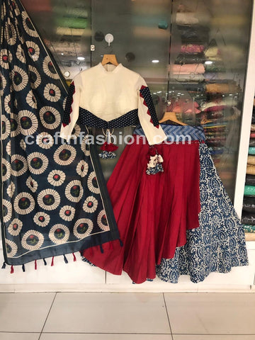 Bollywood Style Indigo Hand Block Printed Chaniya Choli
