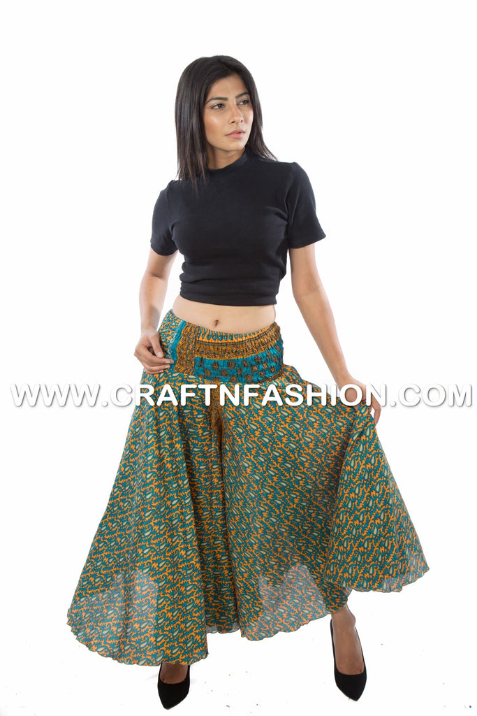 Silk Saree Customized Umbrella Trouser Pant.