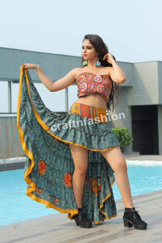 Indian Poly Crepe Silk Ibiza Skirt