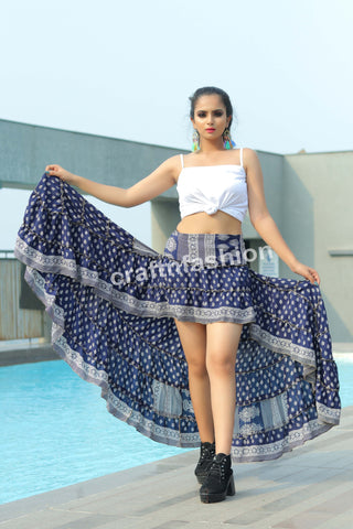 Hollywood Style Poly Crepe Silk Skirt