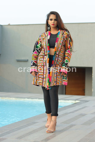 Hand Embroidery Mirror Work Woolen Jacket