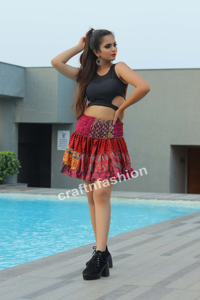 Boho Gypsy Tribal Short Skirt
