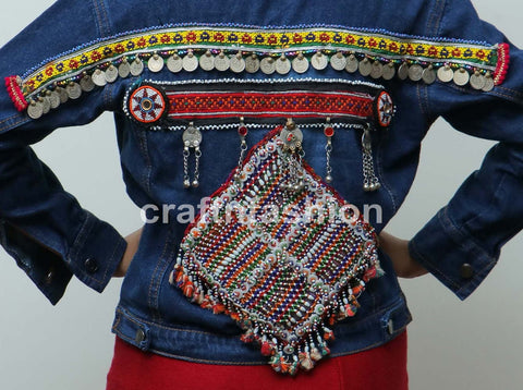 Beaded Afghan Patch Work Denim Jacket