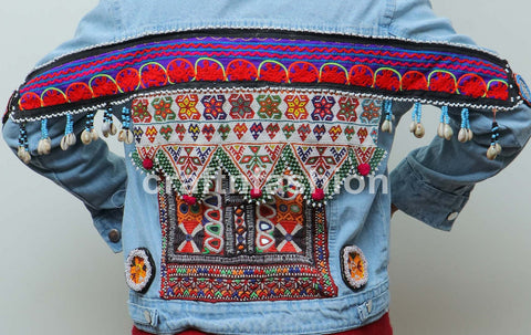 Shells Beaded Patch Work Denim Jacket
