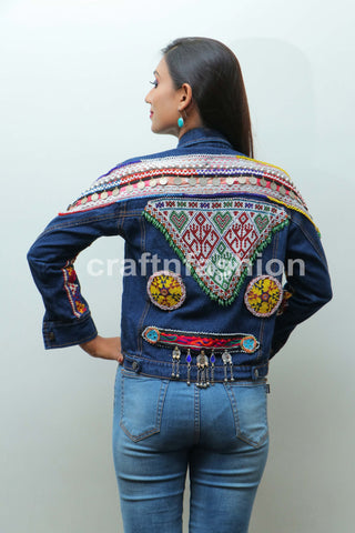 Beaded Afghan Patch Denim Jacket