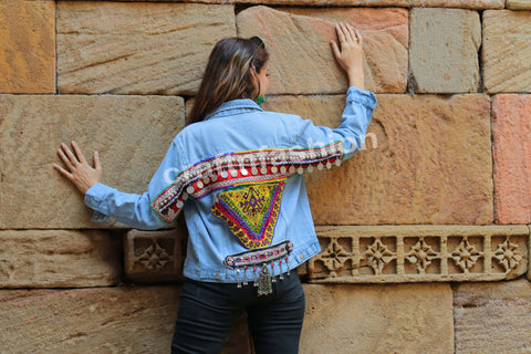 Tribal Beaded Afghan Patch Work Jacket