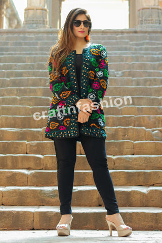 Multicolored Hand Embroidered Phulkari Jacket