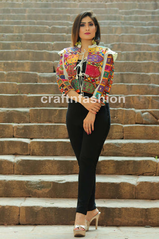 Designer Kutch Embroidered Short Jacket