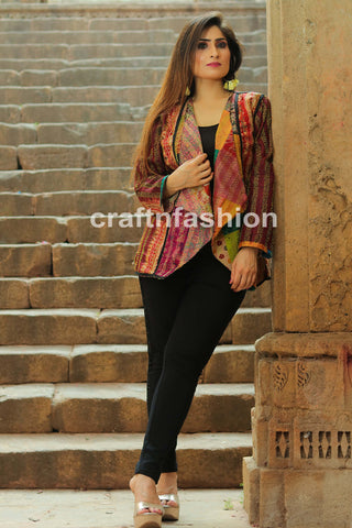 Reversible Silk Patch Work Kantha Jacket