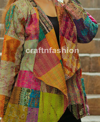 Reversible Silk Patch Work Kantha Shrug