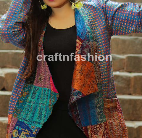 Boho Gypsy Kantha Embroidery Jacket