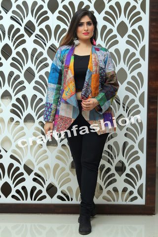 Silk Patch Work Kantha Jacket