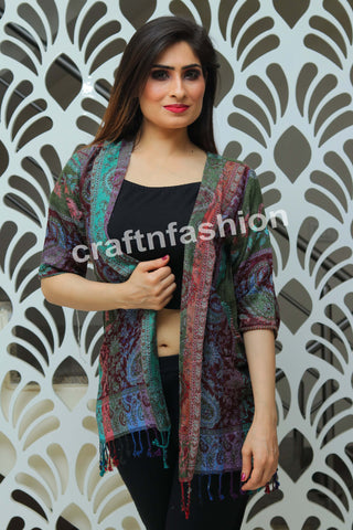 Multicolored Fashion Wear Pashmina Shrug