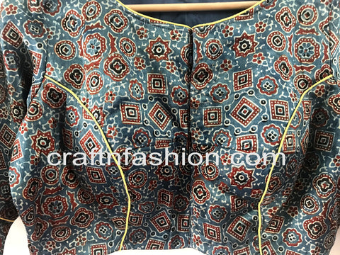 Ajrakh Printed Mashru Silk Kutch Patch Work Blouse