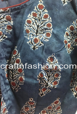 Vintage Kutch Embroidery Patch Gaji Silk Blouse