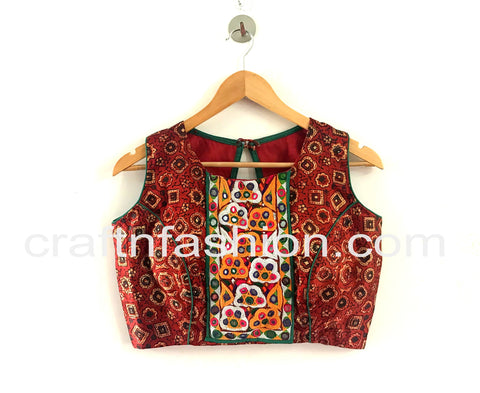 Traditional Festive Wear Patch Work Gaji Silk Blouse
