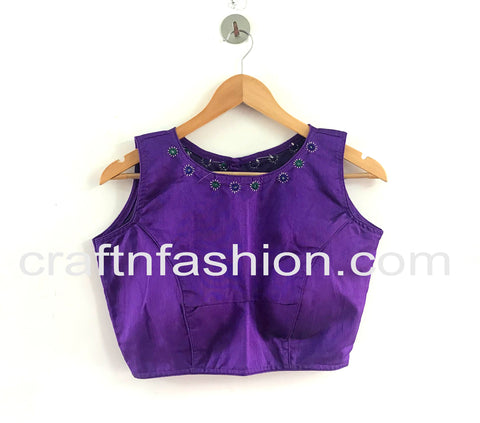 Designer Mirror Work Crop Top/Blouse