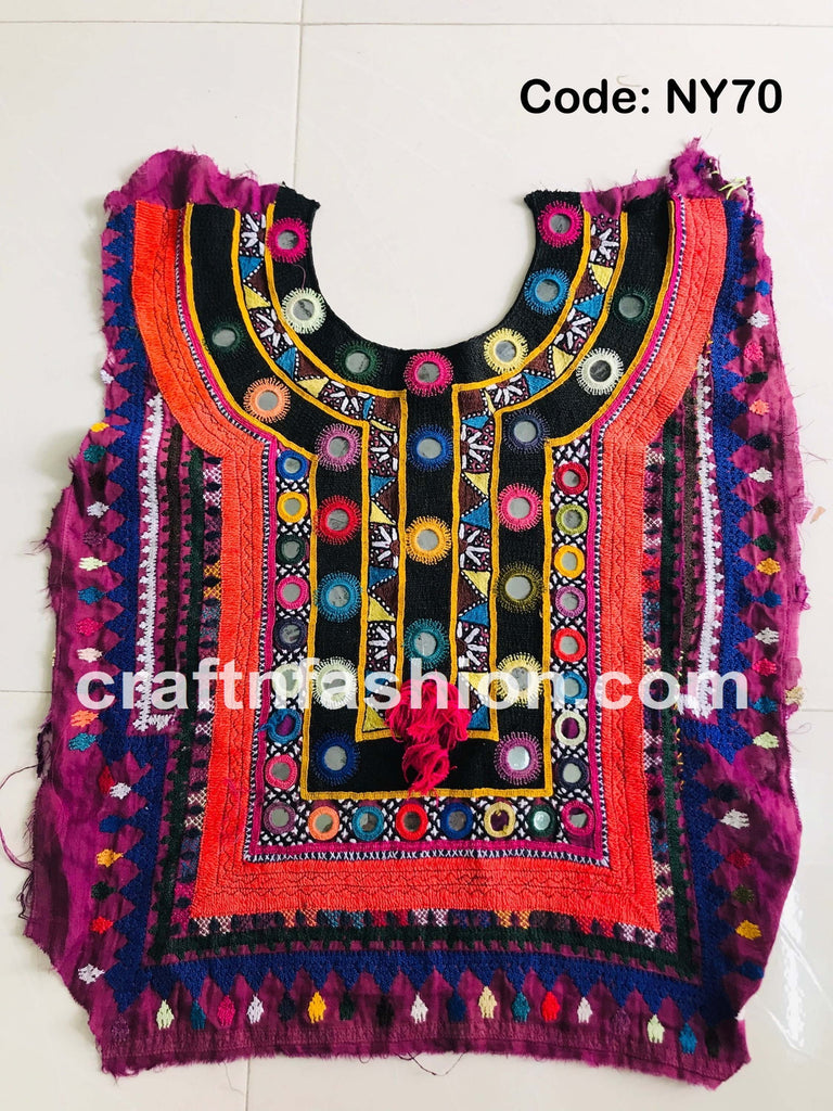 Vintage Hand Embroidery Kutch Yoke Neck