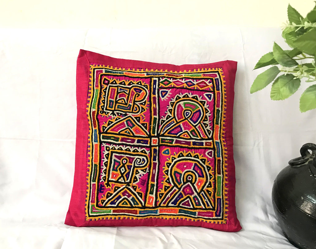 Kutch Embroidery Mirror Work Pillow Case