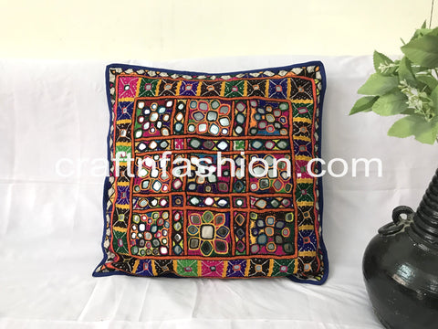 Heavy Mirror Work Pillow Cover