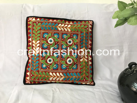 Traditional Gujarati Embroidery Cushion Cover