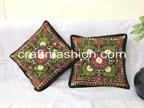 Beautiful Hand Embroidered Cushion Cover Pair (2 PIECES)