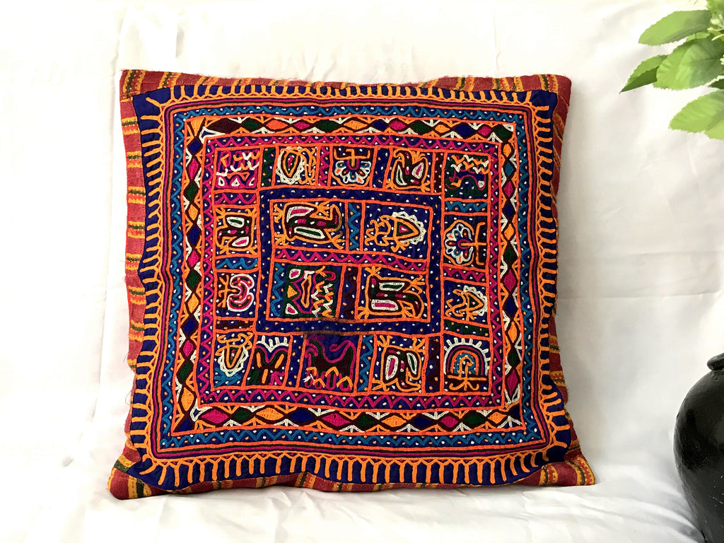 Vintage Kutch Mochi Work Decorative Pillow Covers