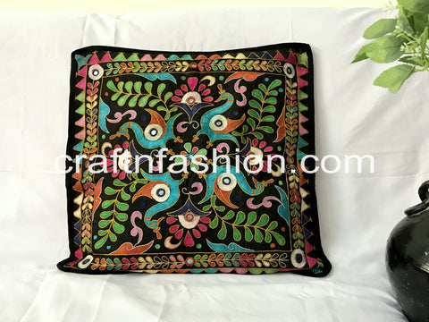 Peacock Embroidery Zippered Pillow Case
