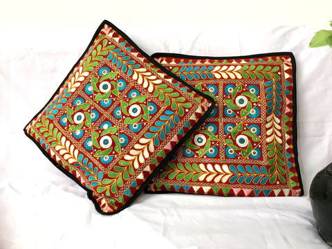 Decorative Indian Mirror Work Multi Colored Cover (2PC)
