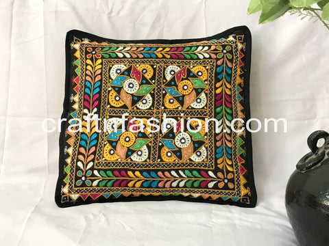 Gujarati Cotton Thread Work & Mirror Work Pillow Case