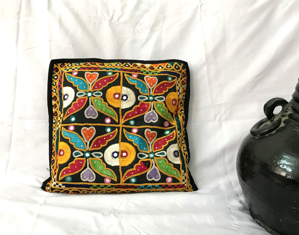 Mirror Work Embroidered Pillow Cover