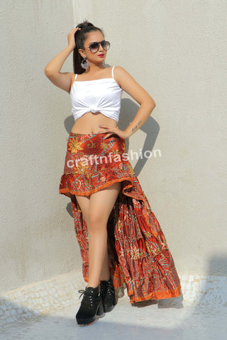 Floral Poly Crepe Silk Ibiza Skirt