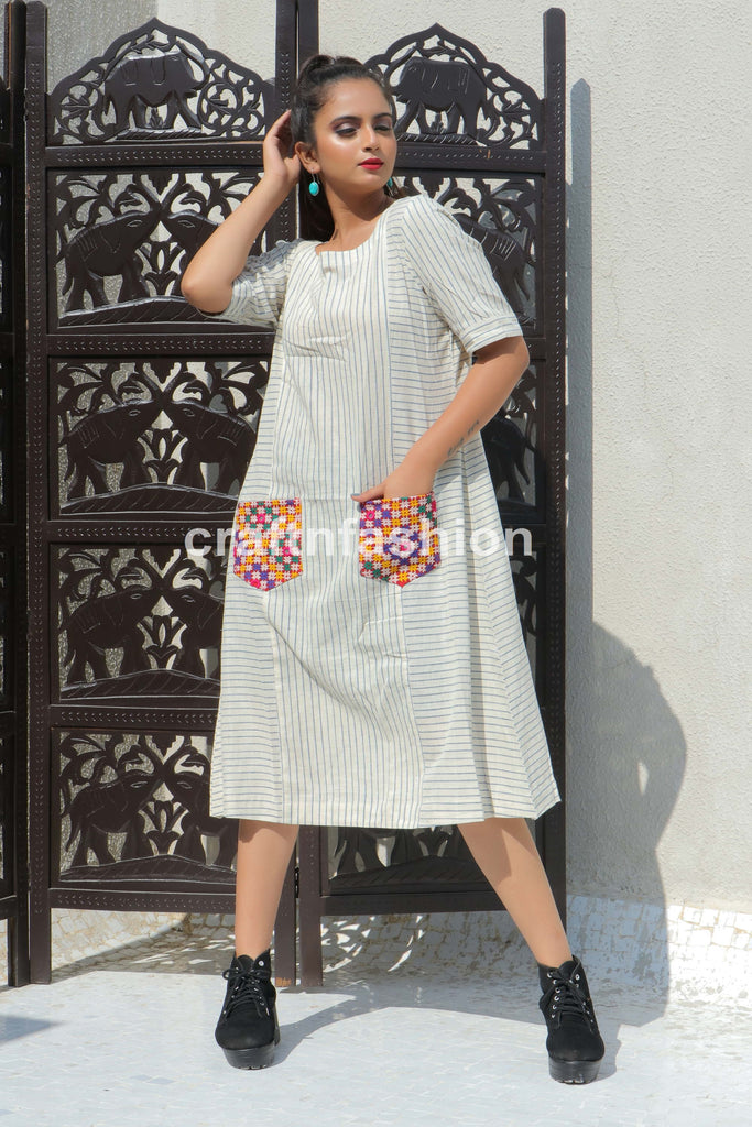 Fashion Wear Natural Khadi One Piece