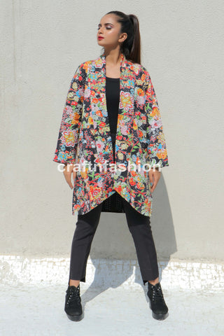 Floral Reversible Long Kantha Jacket