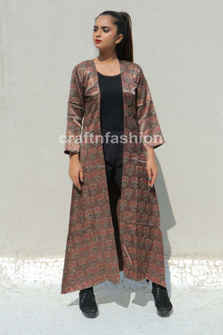 Lotus Print Mashroo Silk Long Jacket